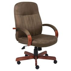 Microfiber Executive Chair with Dark Oak Finish Cappuccino - Boss Office Products, Black