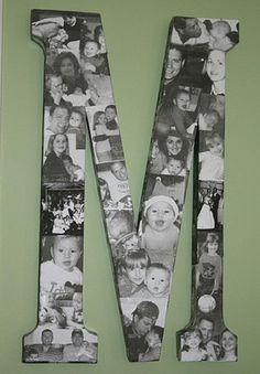 Une belle idée pour décorer la chambre de votre enfant! Avec la première lettre de son prénom et la première lettre du nom de famille, vous pourrez faire des montages photos! Des cadres photos en forme de lettre! Un bricolage facile à faire et une dé                                                                                                                                                      Plus
