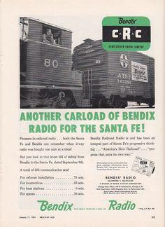 1954 Bendix Centralized Radio Control Ad: AT&SF Santa Fe Railway #80 Locomotive