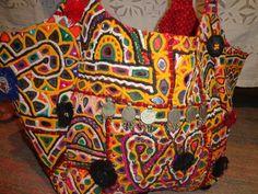 vintage banjara mirror work textile bag and by jaisalmerhandloom, $129.00