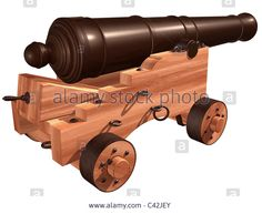 Isolated illustration of an antique ships cannon Stock Photo