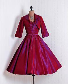 Dress Ensemble, Lilli Diamond, California: 1950's, iridescent taffeta, belted waist, skirt with back tiered ruffles.