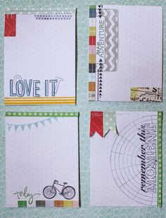 make your own journal cards; ledger paper, stamps, washi tape