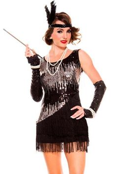 Fabulous and fearless in our Atomic Black and Silver Fearless Flapper Costume.
