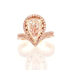 Halo Double Shank Rose Gold Pink Pear Shape Diamond Engagement Ring