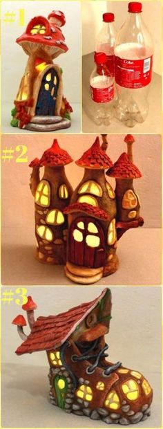 """DIY Plastic Bottle Fairy House Lights Tutorial - DIY Fairy Light Projects & Instructions """"DIY Fairy Light Craft Projects Ideas and Instructions for home an Clay Fairy House, Fairy Garden Houses, Plastic Bottle Crafts, Diy Bottle, Fairy Lanterns, Fairy Lights, Clay Fairies, Light Crafts, Hobbies And Crafts"""