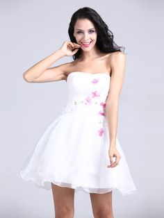 Pure Mini-length Strapless Floral Party Dress