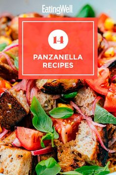 Make a delicious main or side dish with these panzanella recipes. A panzanella is a Tuscan salad that's traditionally made with stale bread and tomatoes. Here, we put our spin on the bread salad with different flavor and ingredient combinations. #salads #saladrecipes #healthysalads #saladideas #healthyrecipes Healthy Salads, Healthy Eating, Healthy Recipes, Camping Recipes, Camping Meals, Tuscan Salad, Italian Bread Salad, Country Bread