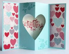 Elaine's Creations: Valentine's Day Tunnel Card & Surprise Box Tutorials by Kendrakr Fancy Fold Cards, Folded Cards, Valentine Love Cards, Valentines, Spring Decoration, Up Book, Shaped Cards, Card Making Techniques, Card Tutorials