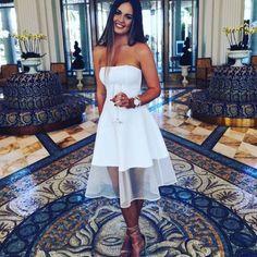 Cute White Strapless Homecoming Dress,Knee Length Short Prom Dress,Sleeveless Elegant Homecoming Gown