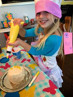 Great ideas for a cake decorating party and most supplies from the Dollar store!