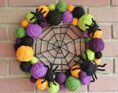 Halloween Wreath, Yarn Ball Wreath, 14 inch, orange,black, green, purple, as seen in Better Homes & Gardens Tricks and Treats Magazine 2013