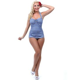 Retro Swimsuit: 1950s Style Royal Blue & White Gingham One Piece Swimsuit