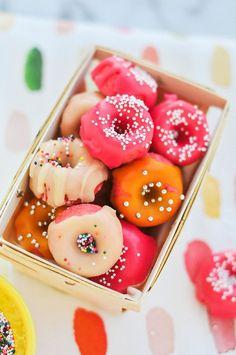 Mini strawberry donuts #food