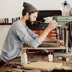 dark beard and mustache in a workshop wood work beards bearded man men woodwork art