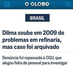 """Dilma disse que vai combater a corrupção """"doa a quem doer"""". Ficamos sabendo que Dilma, em 2009, quando era ministra da Casa Civil de Lula, foi avisada pelo TCU de que as obras da refinaria Abreu e Lima, em Pernambuco, estavam superfaturadas em mais de R$ 59 milhões. Pois é, além de não ter feito nada para apurar as denúncias, o caso foi arquivado pela Controladoria-Geral da União .  http://oglobo.globo.com/brasil/dilma-soube-em-2009-de-problemas-em-refinaria-mas-caso-foi-arquivado-14051593"""