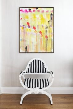 """great interior inspiration if stripes are your thing: pair with some color to break up that """"serious"""" look"""