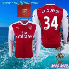 Maillot Du Arsenal Manche Longue (COQUELIN 34) Domicile 2016-2017 Pas Cheres