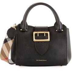 Burberry Buckle Small Leather Tote Bag ($1,395) ❤ liked on Polyvore featuring bags, handbags, tote bags, black, zippered tote bag, zipper tote, handbags totes, tote handbags and zip tote bag