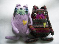 Purple Pug  made from  Upcycled Wool Sweater by sweetpoppycat