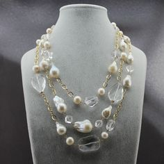 Triple Strand Baroque Pearl & Crystal Statement necklace