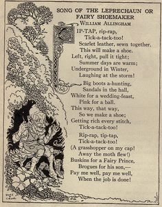 """Song of the Leprechaun or Fairy Shoemaker"" -- by William Allingham, from the book ""Up One Pair of Stairs of My Bookhouse, edited by Olive Beaupre' Miller, 1920-1937. Illustration by Donn P. Crane."