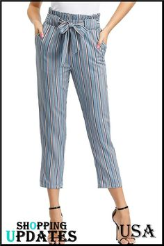 Women's Cropped Paper Bag Waist Pants with Pockets. Frock For Women, Pants For Women, Clothes For Women, Denim Display, Paper Bag Waist Pants, Kids Wardrobe, Cotton Pants, Fashion Pants, Trouser Pants