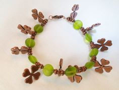 Four Leaf Clover Lucky Braclet by EllensEclectics on Etsy, $15.00