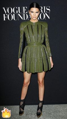 Kendall Jenner in a green Balmain dress