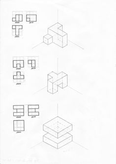 aula de plástica: Perspectiva isométrica Geometric Drawing, Geometric Logo, Geometric Shapes, Isometric Drawing Exercises, Isometric Art, 3d Pencil Sketches, Drawing Sketches, Math Projects, School Art Projects