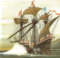 Portuguese warship at Battle of Diu 1509 - Indian Ocean Portuguese Empire, Portuguese Language, Navy Coast Guard, Learn Brazilian Portuguese, Portuguese Lessons, Age Of Discovery, Old Sailing Ships, Naval, Tall Ships