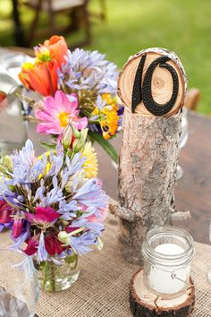 Rustic, colorful decor for Lake Tahoe wedding from Felicia Events and Theilen Photography | via junebugweddings.com