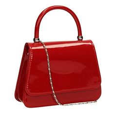 Hayley Patent Leather Vintage Clutch Bag Womens Party Prom Wedding... ($15) ❤ liked on Polyvore featuring bags, handbags, clutches, red patent leather purse, red patent purse, prom clutches, patent handbags and red purse