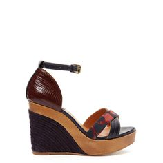 Lanvin Leather Espadrille Wedge Sandal - Leather & Calf Hair Sandal - ShopBAZAAR