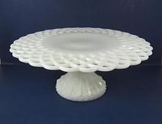RARE Antique LATTICE CAKE STAND Circa 1890 Challinor & Taylor Milkglass Milk