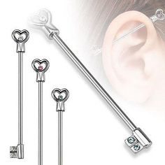 """Heart Key with CZs Industrial Barbell 14ga With Blue Rhinestone 1 3/8"""" 316L Surgical Stainless Steel - BodyDazzle"""