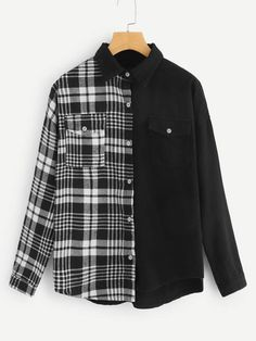 To find out about the Plaid Pocket Detail Drop Shoulder Denim Shirt at SHEIN, part of our latest Denim Tops ready to shop online today! Denim Top, Denim Shirt, Fashion News, Fashion Outfits, Fall Shirts, Types Of Sleeves, Diy Clothes, Ideias Fashion, Plaid
