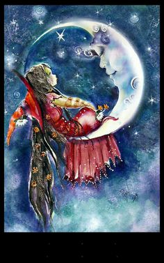 A Very Special Visit by Robin Pushe'e * Witch Moon Fantasy Myth Mythical Mystical Legend Stars And Moon, Good Night Moon, Moon Magic, Beautiful Moon, Moon Art, Moon Moon, Nocturne, Whimsical Art, Faeries