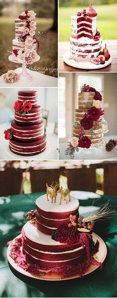 Torta de bodas desnuda en tono vinotinto