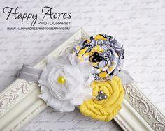 Yellow Grey White Chiffon and Rosette headband