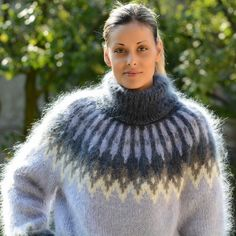 Unisex Icelandic Nordic Hand knitted mohair sweater turtleneck White Light Blue Gray color fuzzy and fluffy plain design by Extravagantza handmade pullover Mohair Yarn, Mohair Sweater, Wool Sweaters, Grey Sweater, Sweater Fashion, Sweater Outfits, Handgestrickte Pullover, Icelandic Sweaters, Plushies
