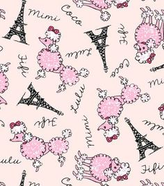 Snuggle Flannel Fabric-Poodles In Paris