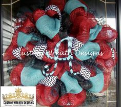 Maroon and Turquoise Chevron Wreath with letter by lilmaddydesigns, $95.00