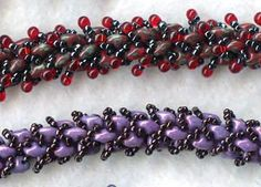 Loop de Loop Bracelet - Doris Coghill Two hole twin or super duo beads, size 15 seed beads and 2.8mm drops; Twin beads or super duos are combined with size 15 seed beads and optional drops using a netting stitch