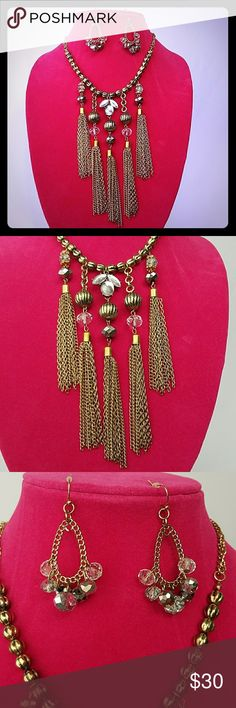 🆕 NWT Erica Lyons Tassel Necklace & Earrings Brand new set from Erica Lyons the necklace retails for $30 and has 5 gold tassles. Has adjustable clasp to lengthen or shorten. The earrings retail for $16 Erica Lyons Jewelry