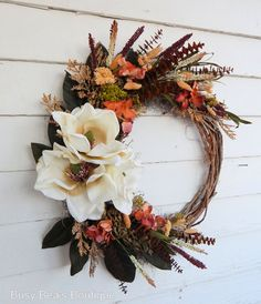 "Front door wreath, magnolia wreath ""Southern Rhapsody"" door wreath, magnolia flower wreath, year-round wreath, custom-made - size selection DIY Fixed Upper Magnolia Wreath Magnolia Wreath, Magnolia Flower, Wreaths For Front Door, Door Wreaths, Holiday Centerpieces, Christmas Decorations, Christmas Crafts, Wreath Stand, Autumn Wreaths"