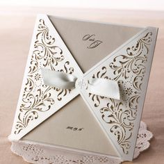 Ivory Laser Cut Lace Wedding Invitations - TU 051 | ItsInvitation
