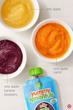 Closest to fresh, homemade baby food possible, Yummy Spoonfuls only uses organic fruits and vegetables, and are non-GMO and have zero additives. None. Zilch. And, your baby can try over 20 flavors of one-, two- and three-ingredient fruit and veggie blends. Just defrost the pouches overnight in the fridge or in warm water, and you're ready to feed your baby. Only at Target.