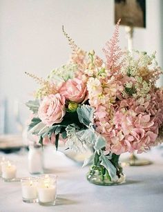 Wedding Flower Arrangements blush pink wedding flower arrangements for table - St. Louis Downtown Ballroom Wedding photographed by Clary Photography and overflowing with elegance and grace. Pink Wedding Centerpieces, Vintage Centerpieces, Wedding Bouquets, Centerpiece Ideas, Blush Centerpiece, Blush Weddings, Graduation Centerpiece, Pink Hydrangea Centerpieces, Round Table Centerpieces