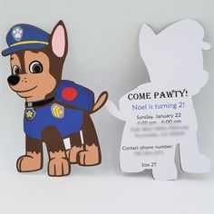 Chase Paw Patrol Invitations Paw Patrol by CreativeCoupleDnT